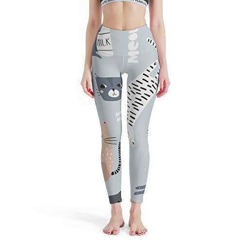 Mallas de Yoga para Mujer, diseño de Dibujos Animados, con Estampado 3D de Animales, Cintura Alta, Ligeras Blanco XS
