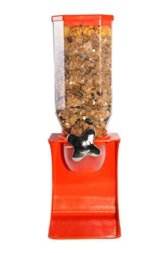 Dispensador individual de cereales de plástico blanco, transparente para alimentos secos para mascotas, granos de café, desayuno (naranja individual)