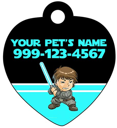 uDesignUSA Disney Star Wars Luke Skywalker Pet Id Tag for Dogs & Cats Personalized w/Name & Number