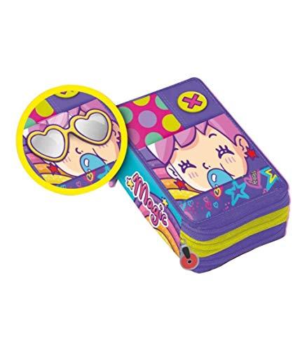 Pop Pop Pop ZIP Federmäppchen mit Tasche + Gratis Schlüsselanhänger Pfeife + gratis Lesezeichen