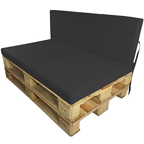 DILUMA Euro-pallet cushions Outdoor, Back rest or Seat cushions for pallet furniture water-repellent (IT'S NOT A SET!), Colour:Anthracite, Variation:1 Back cushion