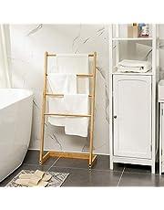 Vrijstaand handdoekenrek voor badkamer - Staand handdoekrek van bamboe hout - Handdoek droogrek met 4 armen - Handdoekrek - Handdoekenhouder - Decopatent