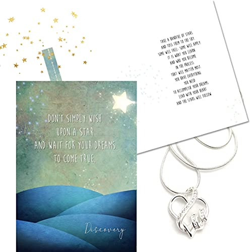 Smiling Wisdom - Discovery - Follow Your Heart Necklace Gift Set - Lead with Your Heart, Stars Will Follow Greeting Card - CZ -...