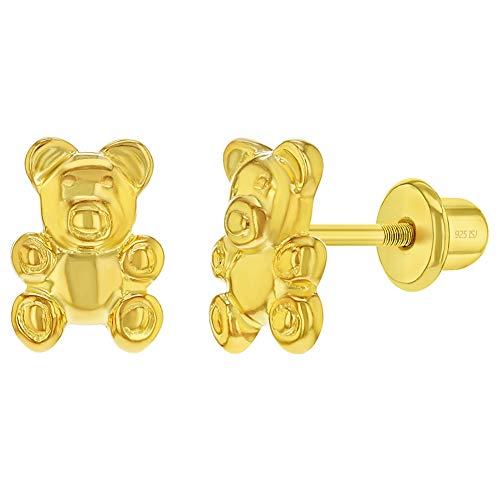In Season Jewelry Plata Fina 925 Pendientes de Cierre de Rosca en forma de Oso de peluche para niñas