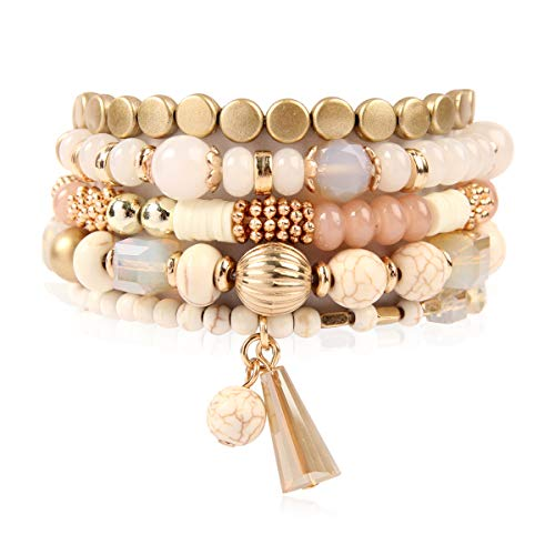 Bohemian Mix Bead Multi Layer Versatile Statement Bracelets - Stackable Beaded Strand Stretch Bangles Sparkly Crystal, Tassel Charm (Natural)