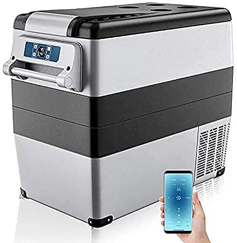 BIIII Auto-Kühlschrank, 55 l, tragbarer und kompakter RV-Kühlschrank, elektrischer Kompressor, Gefrierschrank, Kühler mit Bedienfeld-Rillen-Design