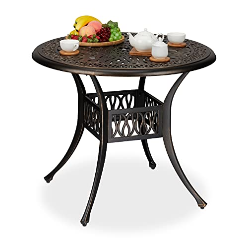 Relaxdays jardín con Orificio para sombrilla, Aspecto Antiguo, Aluminio Fundido, Altura 75 x 90 cm, Mesa de balcón Redonda, Negro/Bronce