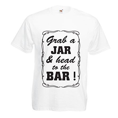 lepni.me N4524 Camiseta Grab a Jar and & Head to The Bar! (XX-Large Blanco Negro)