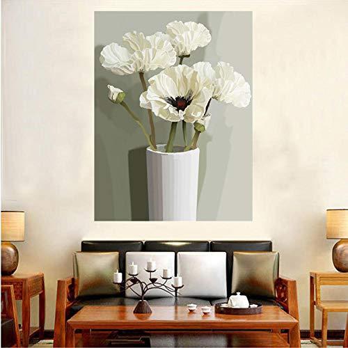 Diamantschilderij 5D DIY, compleet, diamant, rond, Lotus, 40 x 50 cm, met digitaal schilderij voor beginners, decoratie
