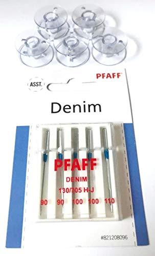 5X Kunststoff Spulen + Original Pfaff Jeans Nadeln für Pfaff Nähmaschinen Hobby 1122, 1132, 1142, 1022, 1032, 1042