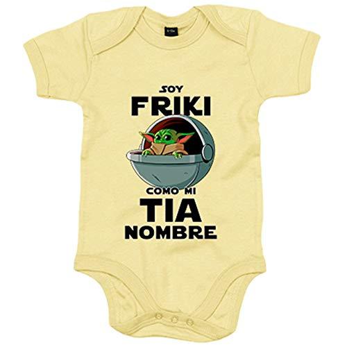 Body bebé soy friki como mi tia ilustración baby yoda personalizable con nombre - Amarillo, 6-12 meses