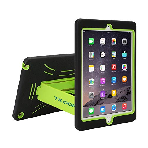 TKOOFN Heavy Duty Silicon Defender Multilayer Protective Shell Military Shockproof Bumper Case Cover with Built in Stand for iPad Mini 2/3 + Screen Protector + Stylus + Cleaning Cloth, Black/Green