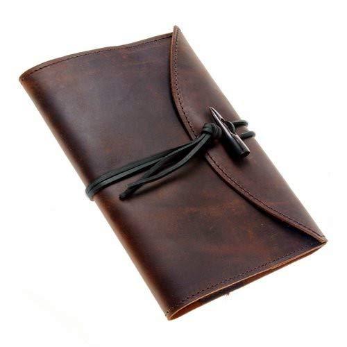 Notizbuch mit Leder-Buchhülle im A5 Format - hochwertiger Ledereinband/Buchschoner im Used-Vintage-Look Farbe braun