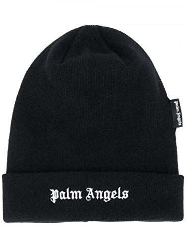 TIEDAN Schwarze Strickmütze Bestickt Palm Palm Angel Angels Kopfbär Herbst/Wintermütze Einheitsgröße-schwarz