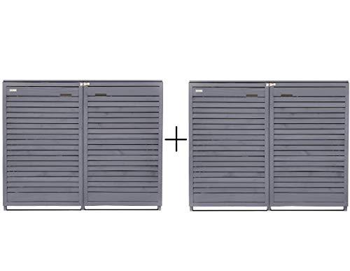 Fairpreis-design Mülltonnenbox Mülltonnenverkleidung 4 Tonnen Holz 120 L - 240 L anthrazit inkl. Rückwand vorimprägniert vormontiert Müllcontainer Mülltonnenschrank Mülltonne Mod.Adr.