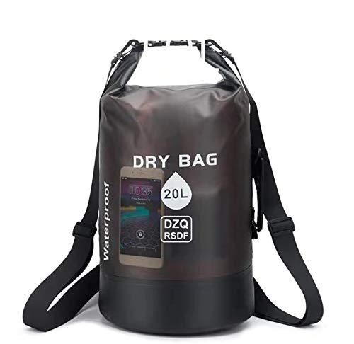 Dry Bag 10l e 20l - Borsa impermeabile | Come accessorio da campeggio | Gommone | Kayak | Rafting | Canoa | Nuoto | Spiaggia | Nautica | Campeggio | Immersioni | Pagaiare | Surf | pesca (Nero,20L)