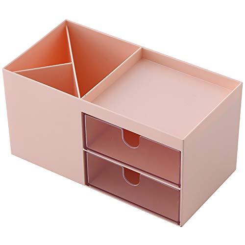 Caja de almacenamiento de escritorio Titular de la pluma Moda creativa Multifuncional Estudiante de papelería Organizador con cajón para oficina de oficina,Rosado