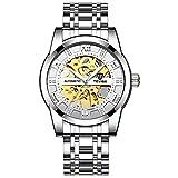JTTM Relojes, Relojes Hombre Mecánico Automático Estilo Clásico Impermeable Números Esfera con Correa De Acero Inoxidable,Blanco