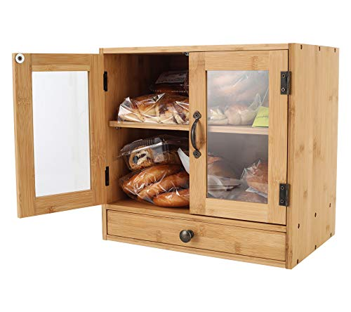 TQVAI Bamboo 2 Tier Bread Box with Clear Window and Cutlery Tray Double Layer Bread Storage Kitchen Countertop Bread Holder - Assembly Required, Original