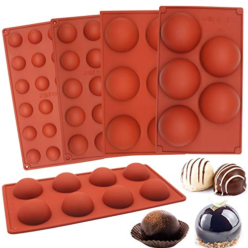 5pcs Sphere Silicone Molds, Premium Silicon Dome mold Baking Semicircle Mould for Chocolate, Cake, Jelly, Pudding, Handmade Soap, Mousse, 5 Sizes(5ml,15ml,30ml,100ml,130ml / teaspoon)