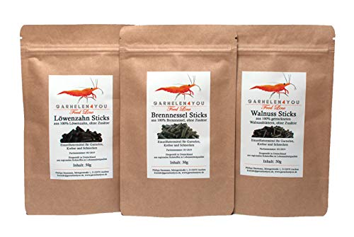 GARNELEN4YOU® Feed Line Bundle Gesundheit & Vitalität: Walnuss - Löwenzahn - Brennnessel, hochwertige Futter Sticks für Aquarienbewohner wie Garnelen, Krebse und Schnecken, 3X 50g