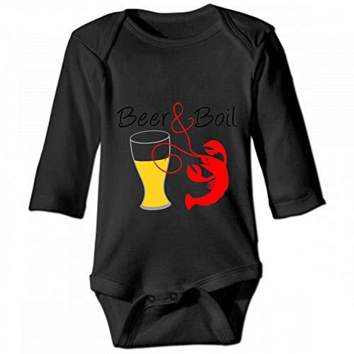 Crawfish Beer Unisex Baby Round Neck Long Sleeve Bodysuit, Fashion Casual Baby Climbing Suit 12M
