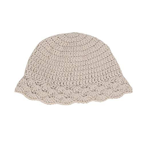 Long Sombrero de Lana para Mujer, protección auditiva Engrosada, otoño e Invierno, Gorro de Lavabo de Punto, Sombrero de Pescador de Color sólido Retro, Adecuado para Exteriores-Blanco