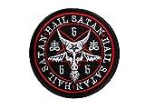 Pentagramma Ave Satana, Diavolo, Lucifero, 666, Occulto, Satanica, Demonico, Horror, Capra, Nero Metallo, Gotico della Morte, Inferno Ricamato Ferro su Applique Souvenir