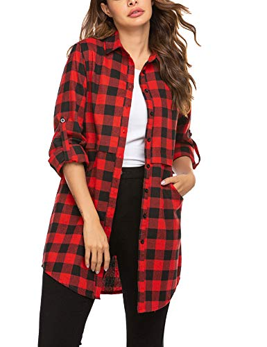 UNibelle Damen Kariertes Hemd Langarm Shirt Bluse Loose Casual Flannel Tunika Rot S