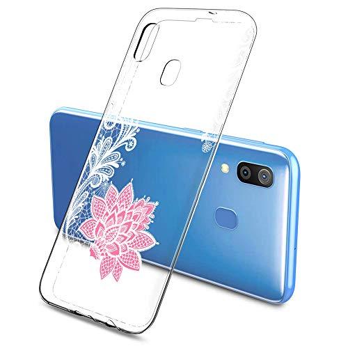 Suhctup Funda Compatible con Samsung Galaxy A70,Carcasa Protectora de Silicona Transparente TPU Bumper con Floral Diseño,Ultra Fina Anti-Choques y Anti-Arañazos Resistente Case,Púrpura