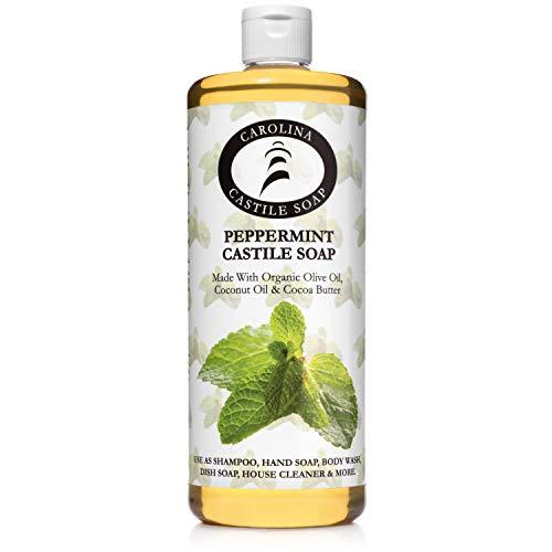 Peppermint Castile Soap W/Organic Cocoa Butter - 32 oz - Carolina Castile