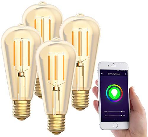 Luminea Home Control WLAN LED Lampe: 4er-Set LED-Filament-Lampen, komp. zu Alexa & Google Assistant, 2200 K (LED Filament E27)