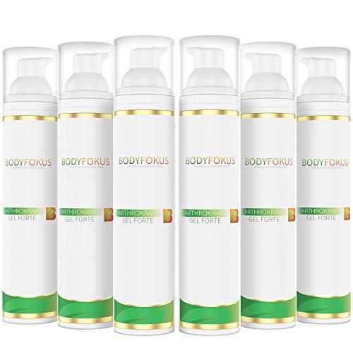 BodyFokus ArthroKraft Gel Forte | Veganes Gel für Gelenke und Muskeln mit Weihrauch, Calendula, Menthol, Kampfer & Wallwurz | 6 Spender