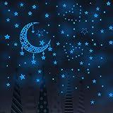 JZLMF Autocollant lumineux Bleu Croissant étoile autocollant Mural lumineux Salon Fond Chambre Chambre d'enfants autocollant Mural décoratif Fluorescent