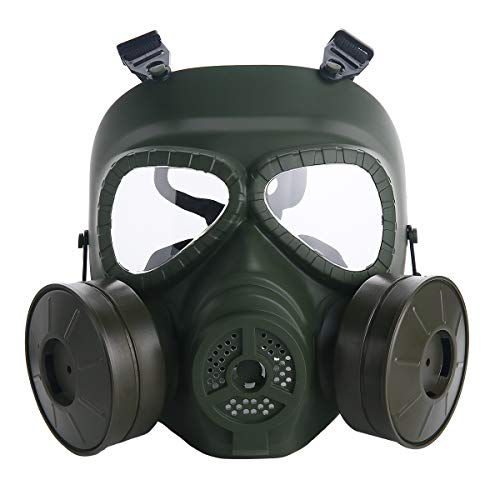 VILONG M04 Airsoft Tactical Protective Mask, Full Face Eye Protection Skull Dummy Game Mask with Dual Filter Fans Adjustable Strap for BB Gun CS Cosplay (Green)