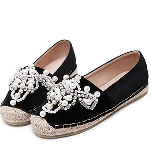 Frauen Wohnungen Herbst Müßiggänger mit Perle runde Spitze Espadrilles Bequeme Hanf unten Slip On Schuhe
