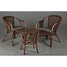 AubryGaspard Ensemble Salon de Jardin 3 pièces en rotin 2 fauteuils + 1 Table Ronde