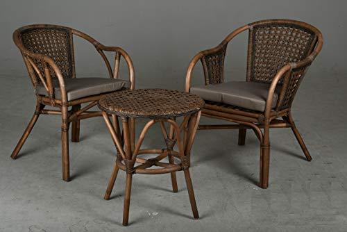 AubryGaspard - Conjunto de muebles de jardín de 3 piezas de ratán, 2 sillones y 1 mesa redonda