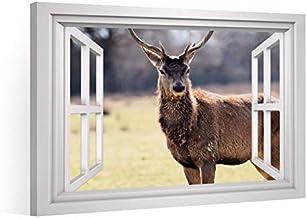 Vensterblik, canvasprint XXL, hert, eland, gewei bos, canvas, afbeeldingen, afbeeldingen op canvas, afdruk wandafbeelding,...