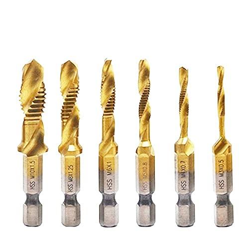 Drill Bit 6pcs Twist Drill Bit Set 1/4 Hex Shank M3 M4 M5 M6 M8 M10 Titanium Coated HSS Drilling Tap Bit Thread Screw Tool