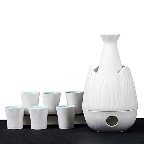L.BAN Japanisches Sake-Set, 9-teiliges traditionelles Sake-Servierset mit wärmerem Topf, klassisches Weiß, für kalten/warmen/heißen Sake/Shochu/Tee, Familien- und Freunde-Geschi