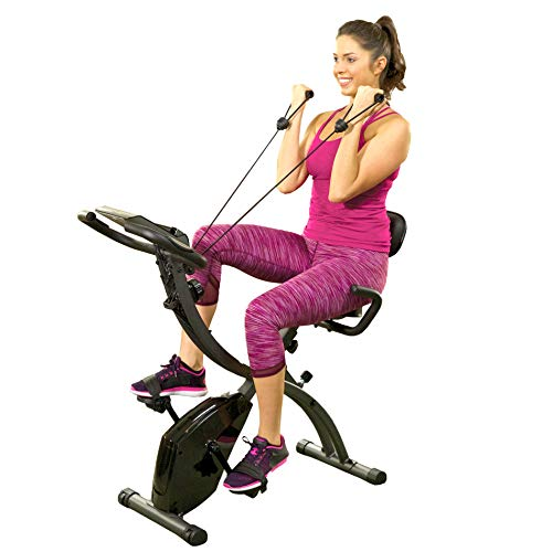 As Seen On TV Slim Cycle Stationary Bike - Folding Indoor Exercise Bike with Arm Resistance Bands...