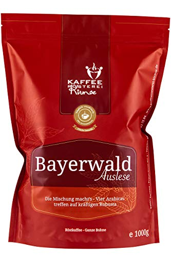 Kaffeerösterei Kirmse I Kaffee Bayerwald Auslese I 1000g I Kaffeemischung I Kaffee gemahlen I Handverlesen I Fair gehandelt I Schonend geröstet I Wenig Säure