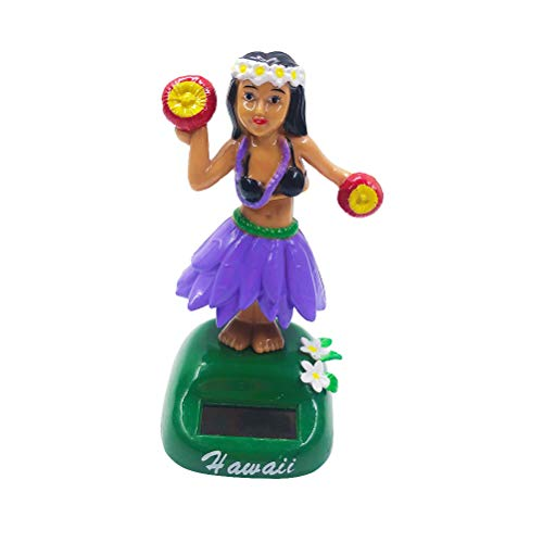 Amosfun Solar Powered Hawaiian Hula Girl Bobble Shaking Head Doll Dancing Figure Toy Car Dashboard Hula Dancer Figurine Decoration Ornament Purple