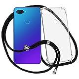 mtb more energy® Handykette kompatibel mit Xiaomi Mi 8 Lite (6.26'') - schwarz - Smartphone Hülle zum Umhängen - Anti Shock Strong TPU Case