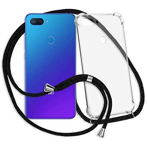 mtb more energy® Collar Smartphone para Xiaomi Mi 8 Lite (6.26'') - Negro - Funda Protectora ponible - Carcasa Anti Shock con Cuerda