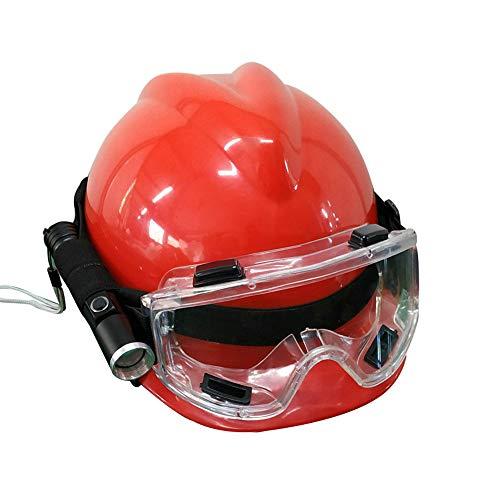 Casco de rescate de emergencia para adultos, casco de seguridad de construcción anticolisión transpirable ABS, conjunto de casco de rescate de terremoto, con linterna y gafas, casco de aventur