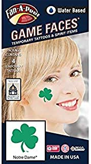 Fan A peel Notre Dame (ND) Fighting Irish – Water Based Temporary Spirit Tattoos – 4-Piece – Green 3-Leaf Clover