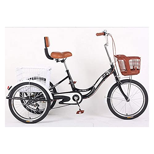 FGVDJ Adult Tricycles 3 Wheel Cruiser Bike Single Speed Trikes 20 Inch Wheels with Backrest and Cargo Basket Low Step-Through for Women Men