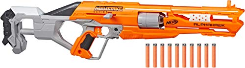 Nerf AlphaHawk Accustrike Elite Blaster, Revolving 5-Dart Drum, 10 Official Nerf AccuStrike Elite Darts Designed For Greater Accuracy, For Kids Ages 8 And Up